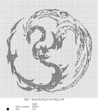 point de croix dragon