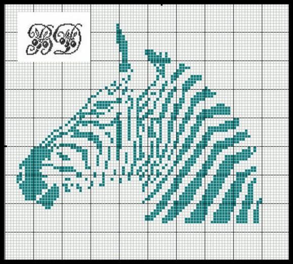 point de croix zebre
